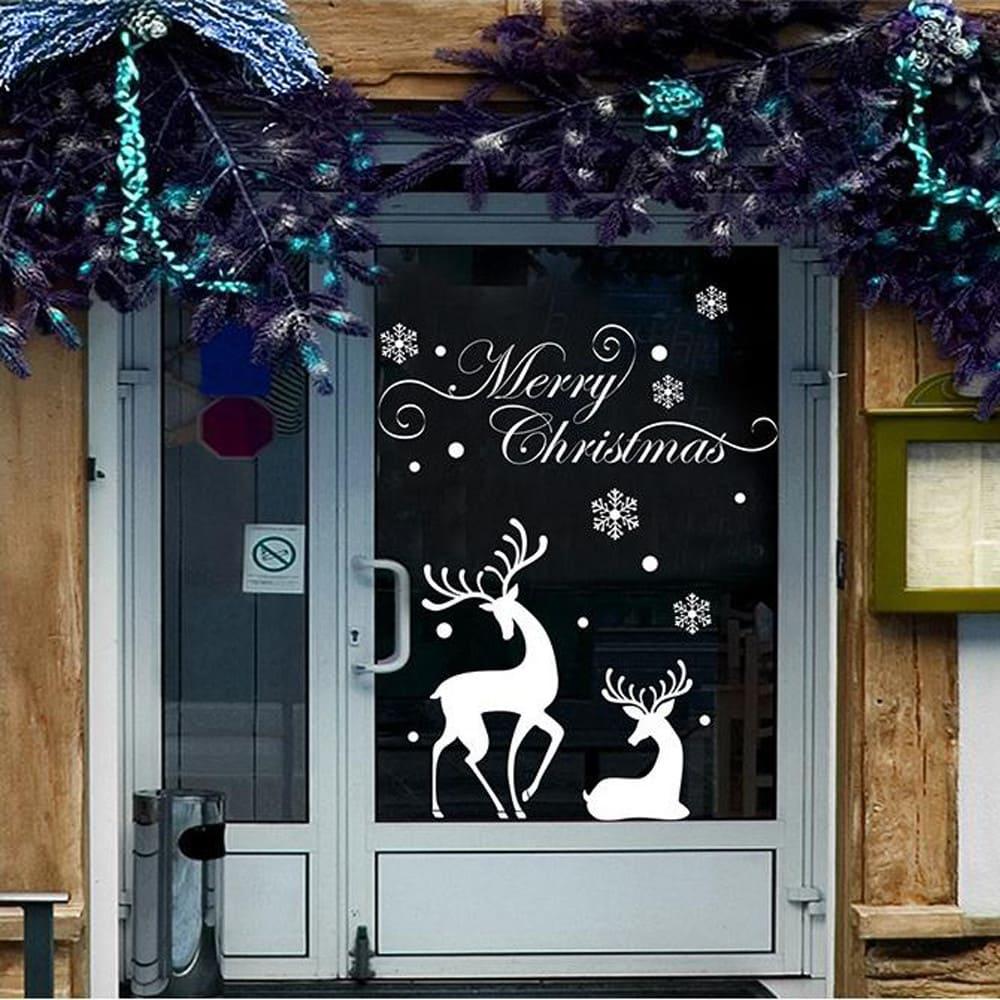 новогодняя наклейка на стекло